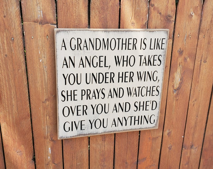 """Custom Carved Wooden Sign - """"A Grandmother Is Like An Angel Who Takes You Under Her Wing"""""""