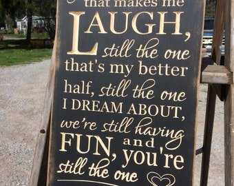 """Personalized Carved Wooden Sign - """"After All These Years, You're Still The One That Makes Me Laugh ..."""""""