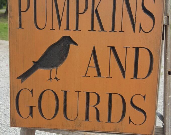 "Custom Carved Wooden Sign - ""Pumpkins & Gourds."""