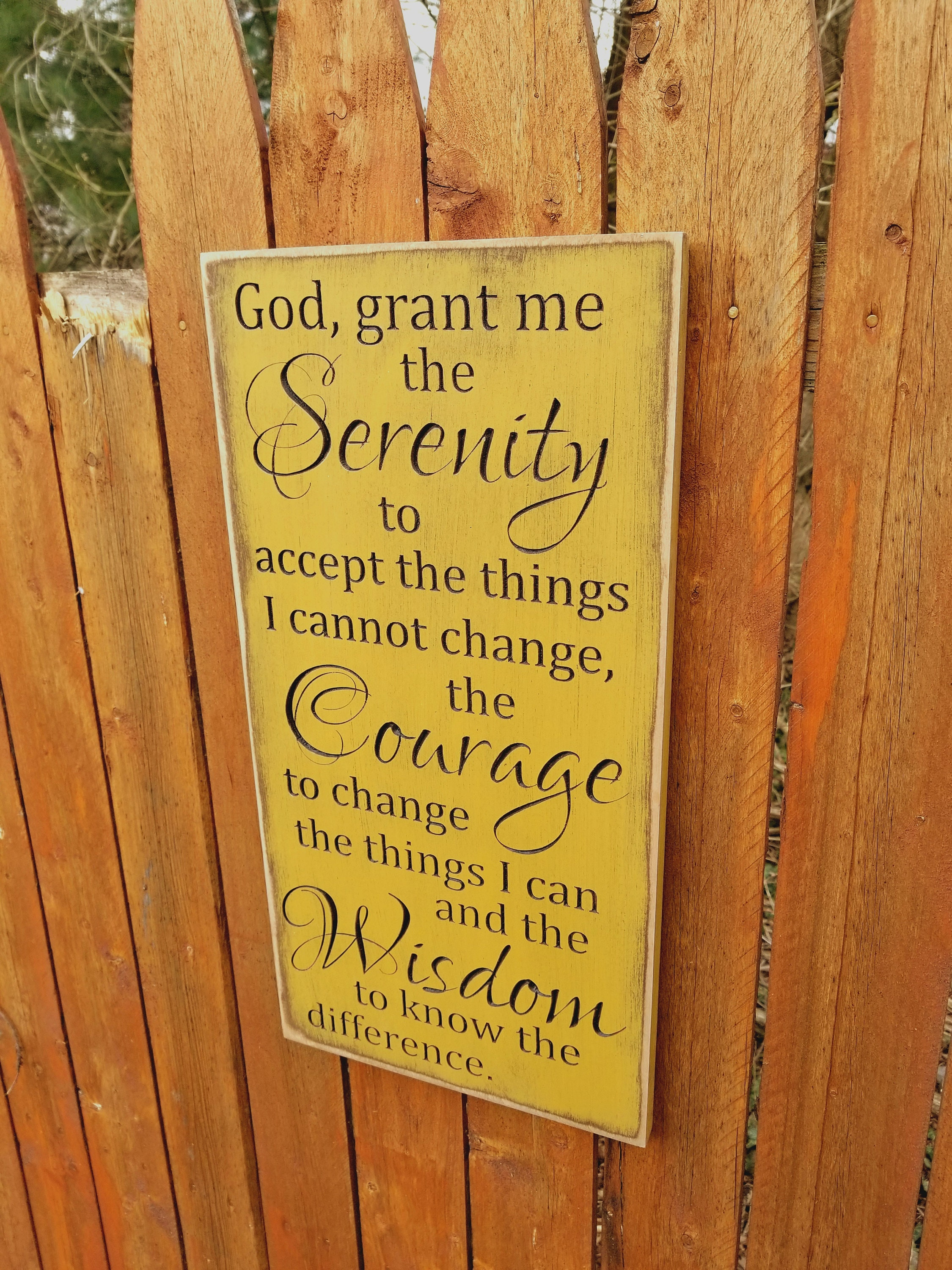 Custom Carved Wooden Sign Serenity Prayer God Grant