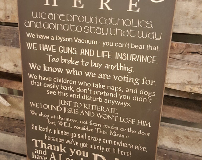 """Custom Carved Wooden Sign - """"No Soliciting Here"""""""
