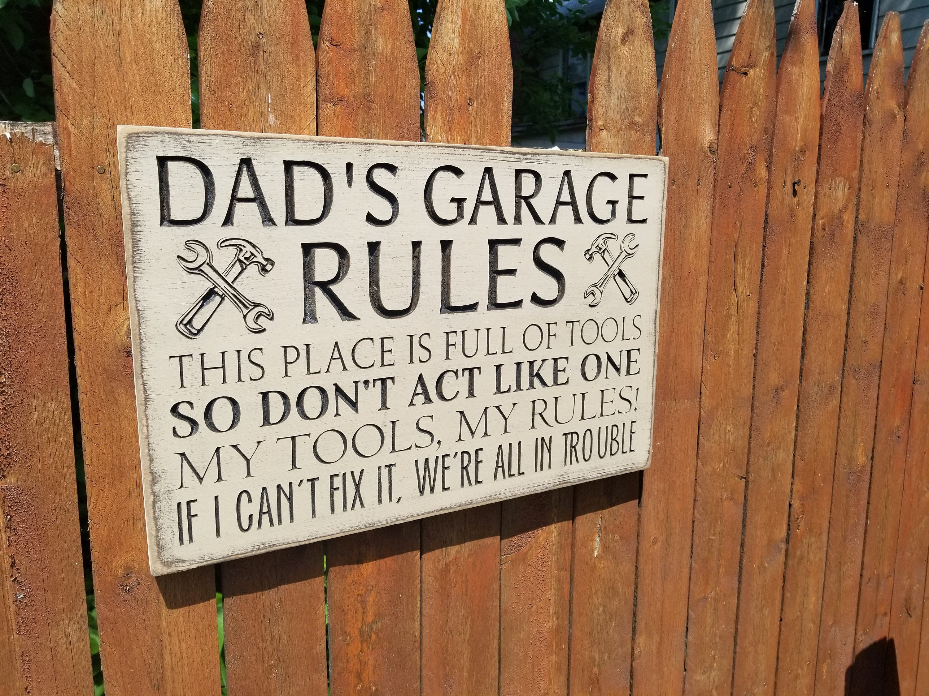 Custom Carved Wooden Sign Dad S Garage Rules This