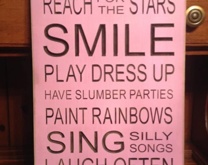 """Custom Carved Wooden Sign - """"You Are A Princess, Reach For The Stars, SMILE ..."""""""