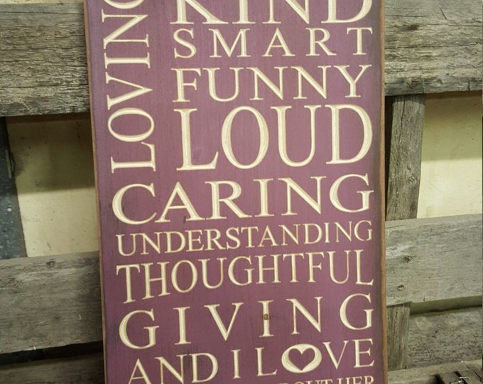 """Personalized Carved Wooden Sign - """"My Best Friend is Beautiful, Loving, Kind, Smart ..."""""""