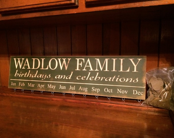 """Personalized Custom Carved Wooden Sign - """"Family Last Name, Birthdays and Celebrations - BIRTHDAY BOARD"""" - 24""""x6"""""""