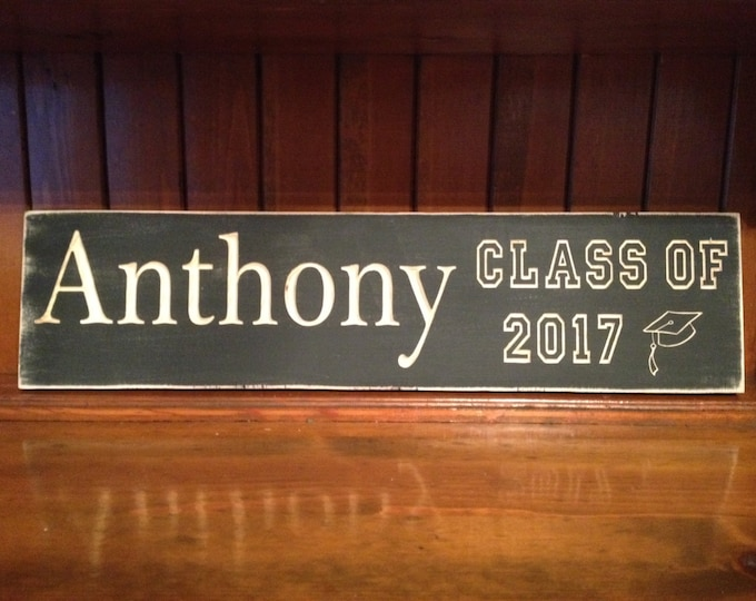 """Personalized Carved Wooden Graduation Sign - 6""""x24"""""""