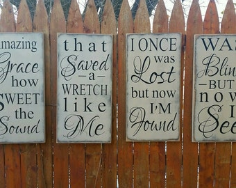 """Custom Carved Wooden Sign - SET OF 4 - """"Amazing Grace How Sweet the Sound"""""""