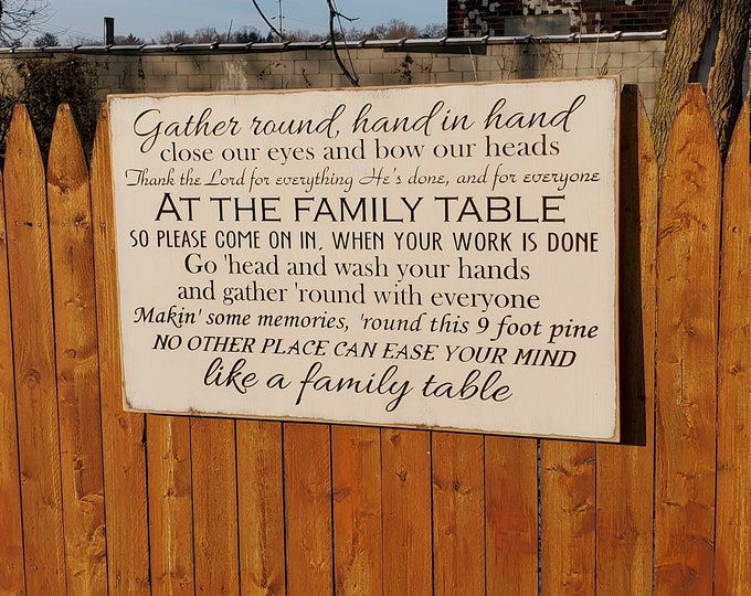 """Custom Carved Wooden Sign - """"Gather Round hand in hand ... Like a family table"""" - Zac Brown Band """"Family Table"""" - song lyrics"""