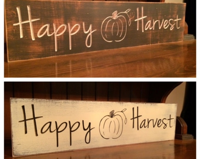 """Custom Carved Wooden Sign - """"Happy Harvest"""" - 24""""x6"""""""