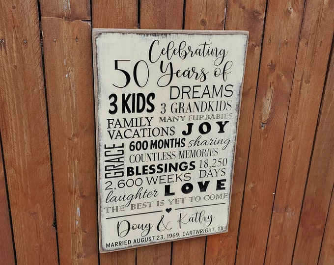 """Personalized Carved Wooden Sign - """"Celebrating 50 years of Marriage"""""""