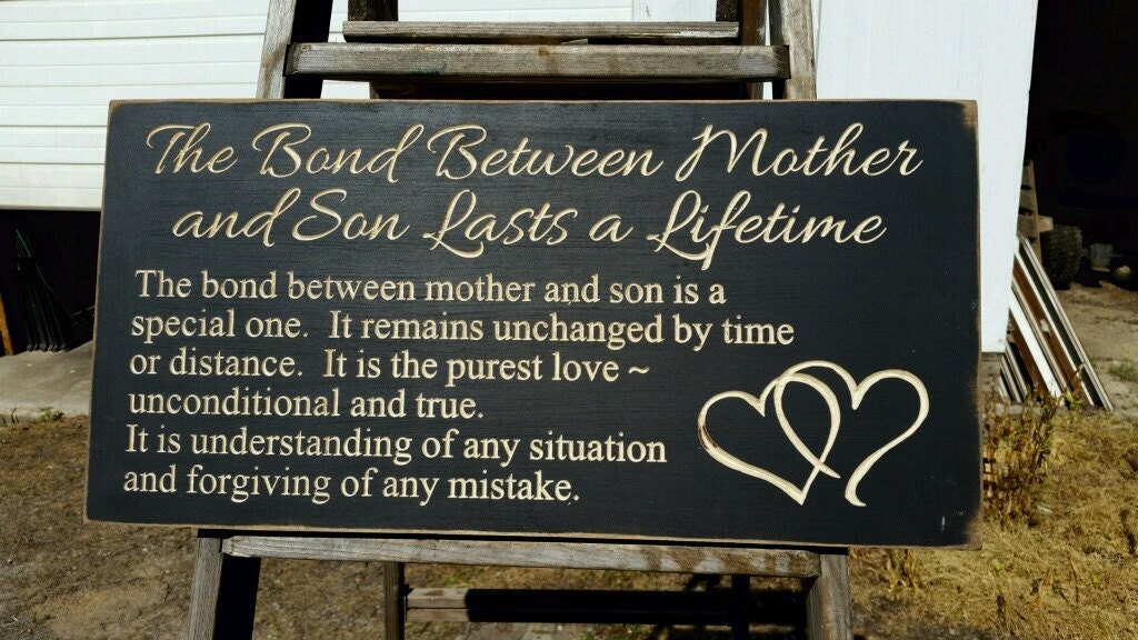 Custom Carved Wooden Sign - The Bond Between Mother