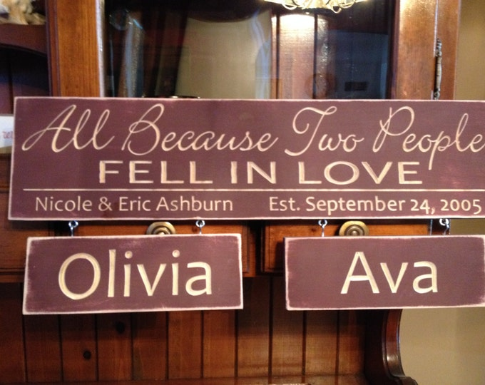 """Personalized Carved Wooden Sign - """"All Because Two People Fell In Love"""""""