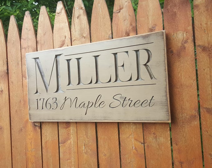 Personalized Family Carved Wooden Sign - Last Name and Address Sign - Family Address Sign