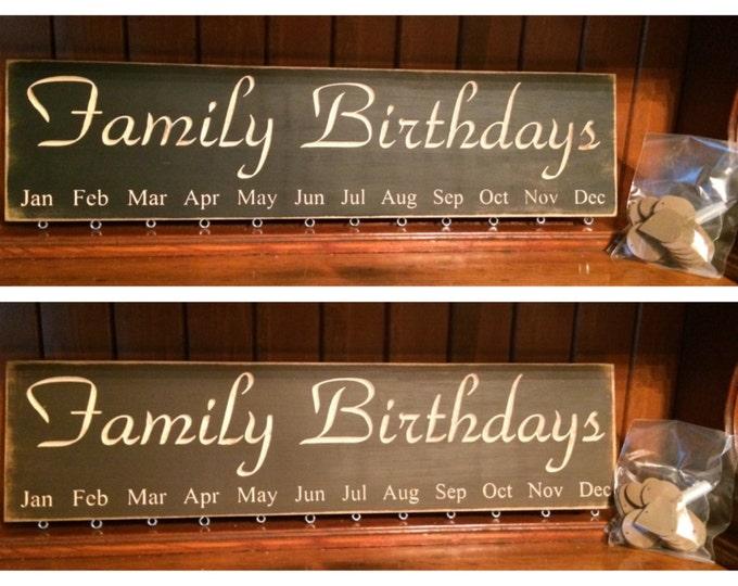 "Custom Carved Wooden Sign - ""Family Birthdays - BIRTHDAY BOARD"" - 24""x6"""