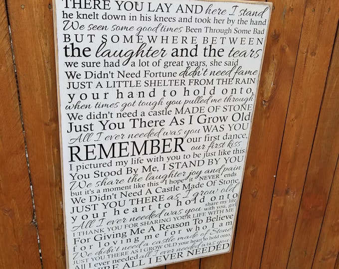 """Custom Carved Wooden Sign - """"There You Lay And Here I Stand..."""" - Bret Michaels """"All I Ever Needed"""" - song lyrics"""