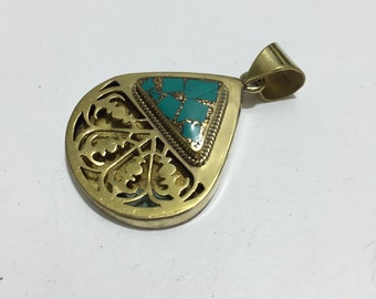 P41 Turquoise and Brass Pendant