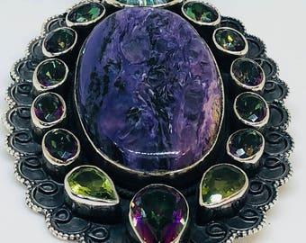 Sterling silver mystic topaz chourite pendant