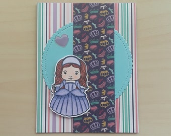 Princess Card,Blank Princess Card,Dimensional Card,Blank Birthday,Princess Birthday,Princess Thinking of You,Just Because,Princess Note Card