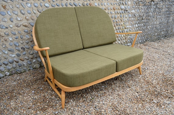 Prime Vintage Ercol Windsor 203 2 Seater Sofa With New Cushions In Soft Green Theyellowbook Wood Chair Design Ideas Theyellowbookinfo