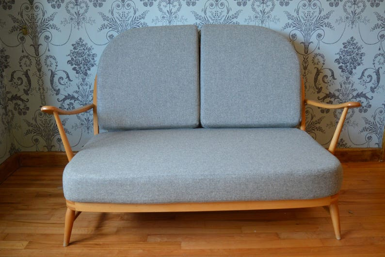 Vintage Ercol Windsor 2032 Seater Sofa Single Seat In Soft Grey