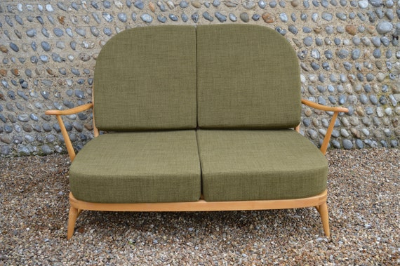 Astonishing Vintage Ercol Windsor 203 2 Seater Sofa With New Cushions In Soft Green Theyellowbook Wood Chair Design Ideas Theyellowbookinfo