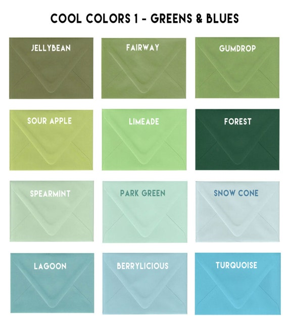 a7 envelopes 5 25 by 7 25 matte finish cool colors green etsy