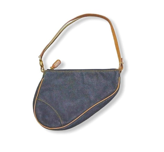 Vintage Dior denim saddle bag - image 1