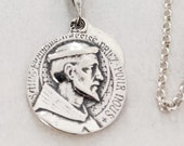 Necklace - Saints Francis and Anthony Sterling Silver + 24 Inch Sterling Silver Chain