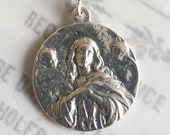 Medal - Saint Mary Magdalene Carried by Angels - Sterling Silver - 30mm