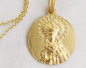 Necklace - Our Lady of Sorrows SPAIN 20.5MM - 18K Gold Vermeil + 18 inch Italian 22K Gold Vermeil Chain