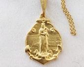 Necklace - Notre-Dame-de-la-Garde 19x25mm - 18K Gold Vermeil + 18 Inch Italian 18K Gold Vermeil Chain