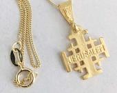 Necklace - Jerusalem Cross 14x16mm - 18K Gold Vermeil + 18 inch Italian 18K Gold Vermeil Chain