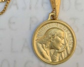 Necklace - Saint Mary Magdalene 18K Gold Vermeil Medal - 17.5mm + 18 inch 18K Gold Plated Box Chain