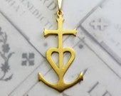 Cross - NEW Camargue Cross 25x46mm - 18K Gold Vermeil
