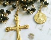 Rosary - Chinese Crystal Saint Mary Magdalene Rosary - 18K Gold Vermeil