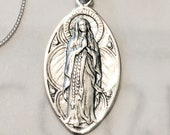 Necklace - Our Lady of the Rosary / Lourdes 16x28mm - Sterling Silver + 18 Inch Italian Sterling Silver Chain