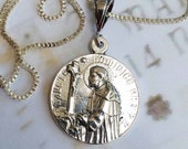 Necklace - St Dominic 26mm Sterling Silver with 18 inch Sterling Silver Box Chain