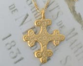 Necklace - Crusader Cross 29x36mm - 18K Gold Vermeil + 18 Inch 18K Gold Vermeil Chain