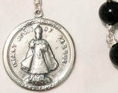 Chaplet - Infant Jesus of Prague Onyx 25mm - Sterling Silver