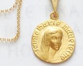 Necklace - Sainte Marie Madeleine 19mm - 18K Gold Vermeil + 18 inch Italian 22K Gold Vermeil Chain