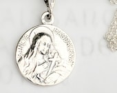 Necklace - Sancta Magdalena 18mm - Sterling Silver + 18 Inch Italian Sterling Silver Chain