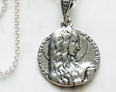 Necklace - Sancta Maria Magdalena 18mm + 18 inch Italian Sterling Silver Chain