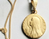 Necklace - Mary of Magdala & Alabaster Jar 15mm - 18K Gold Vermeil + 18 Inch Italian 18K Gold Vermeil Chain