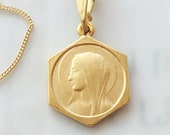 Necklace - Our Lady of Lourdes 15.5x21 - 18K Gold Vermeil + 18 Inch Italian 18K Gold Vermeil Chain