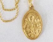 Necklace - St Joseph & Baby Jesus / Notre Dame de Graces 13x19mm - 18K Gold Vermeil + 18 Inch Italian 18K Gold Vermeil Chain
