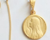 Necklace - Mary of Magdala w/ Alabaster Jar 15mm - 18K Gold Vermeil + 18 Inch Italian 18K Gold Vermeil Chain
