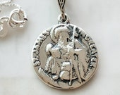 Necklace - St James the Greater 18mm - Sterling Silver + 18 Inch Italian Sterling Silver Chain