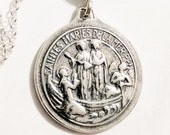 Necklace - Saintes Maries & Sainte Sarah 23mm - Sterling Silver + 18 Inch Italian Sterling Silver Chain