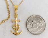 Necklace - Tiny Camargue Cross 10x20mm - 18K Gold Vermeil + 18 Inch Italian 18K Gold Vermeil Chain