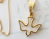 Necklace - Holy Spirit 17x17mm - 18K Gold Vermeil + 18 Inch Italian 18K Gold Vermeil Chain